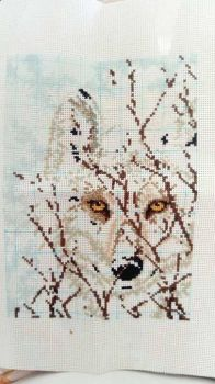 Wolf Cross Stitch WIP by DragonChaser123