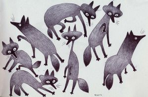 a skulk of foxes by owlu