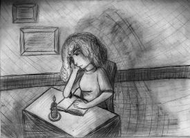 Candle Light Reading Drawing by TheFlyinFerret