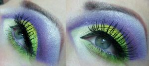green and purple cut crease by munstermakeup