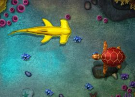 Swming  Hammerhead Shark and Sea turtle by pigboat