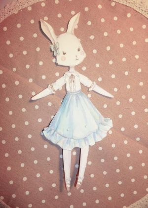 OOAK Lolita Rabbit Jointed Paper Doll by Ninelyn