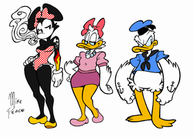 Minnie, Daisy and Donald by MikeBasilisco