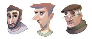 Male heads by dream-cup