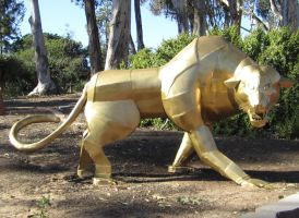 Gold Panther Statue Stock by chamberstock