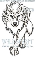 Blue-Eyed Stalking Wolf Tattoo by WildSpiritWolf