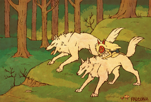 San and the wolves by Paleona