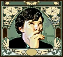 Art Nouveau Sherlock Smoking by Nero749