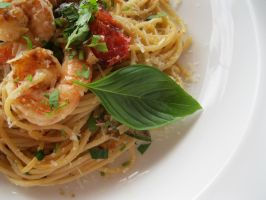 Grilled Vegetables and Shrimp Pasta by caturs