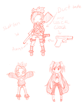 me in a zombie apocalypse and some stoopid doodle by lindsay711