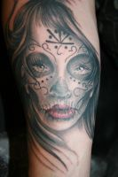 close up day of dead girl face by MeghanBeth