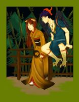 The Kitsune and the Tengu by Blue-Milk95