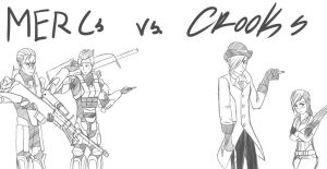 RvB/RWBY: Mercs vs Crooks by sketchingchaos