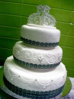Ribbons And Lace Wedding Cake by Sliceofcake