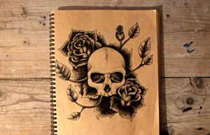 Skull with roses by KajaNijssen