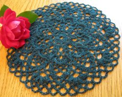 Raised Stitch Pineapple Doily in Hand Dyed Mallard by doilydeas