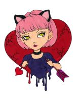 Anti-Valentine Girl With Nekomimi Colored by Maiko-Girl