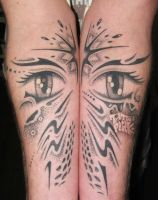 freehand tattoo eyes by pink by tattoopink