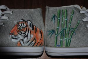 Tiger and bamboo shoes by PhoenixMystery