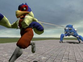 Tachikoma captures Falco 7 by SilverSpiritUK
