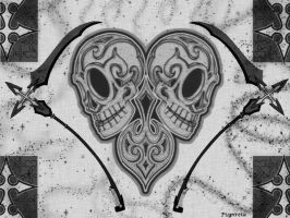 skulls heart by pispireta