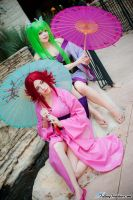 Kallen and C.C. - Code Geass by nekomatalee