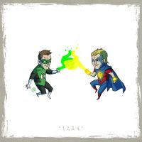 Little Friends - Green Lantern  and Quasar by darrenrawlings