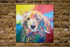 Title a dog spray paint art by colorpeoject