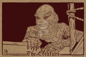 Creature From The Black Lagoon Silkscreen Postcard by JesseAcosta