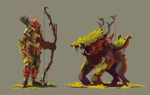 Golem Archer and Barked Gorilla mount by TacticsOgre