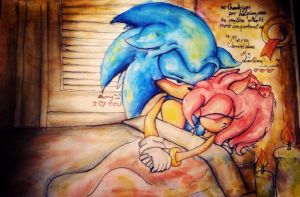 A sonic and Amy Christmas on the floor by supersonicartdrawer