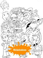 Nicktoons MashUp Lineart by Lilylicious17