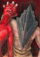 Sketch Card Red Pyramid by AokiBengal