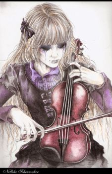 selfportret: me with my violin by girl-of-art