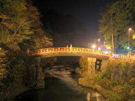 Shinkyo Bridge at Night by g-hennux
