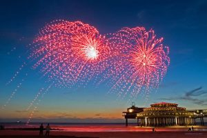 Red Fireworks on a Blue Sky by NorthSea