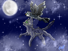 Soaring for the stars like my owl half by MidnightsBloom