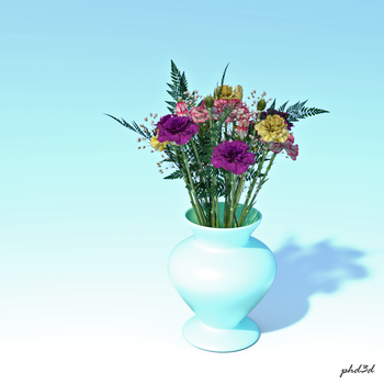 Flowers on pale blue by phdv