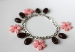 Sakura and Coffee Bean Bracelet by PaleMint
