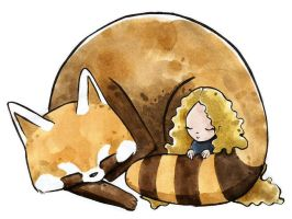 Sleeping with a Red Panda by rembulan