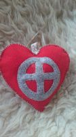 Felt Ornament - Heart with Sunwheel by TerraRavenBearheart