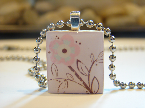 Pink Flower Scrabble Pendant by PastryStitches