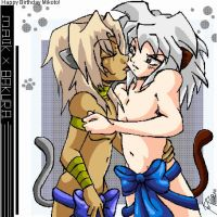 Kitty Love Malik X Bakura by legatosslave