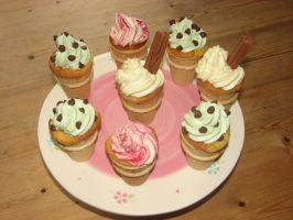 Ice Cream Cone Cupcakes by Stephanie-Chivas