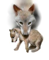 Wolf and Pup by barbiexsofia