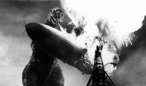 Godzilla vs Hindenburg by Rabittooth