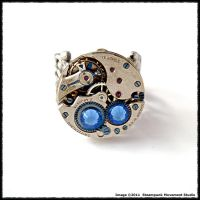 Steampunk Deep Blue Sea Ring by SoulCatcher06