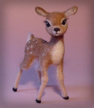 Needle Felted Baby Deer Fawn by ZadaCreations