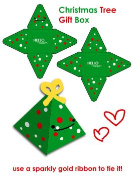 Merry Christmas Tree Gift Box by hellohappycrafts