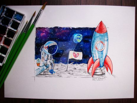 Lonely Astronaut watercolor painting by KEATONdesigns